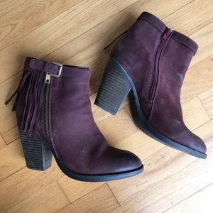 Steve Madden Woodmeer Burgundy Leather Booties